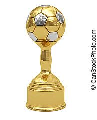Golden soccer ball trophy on pedestal
