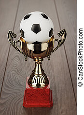 golden soccer trophy cup