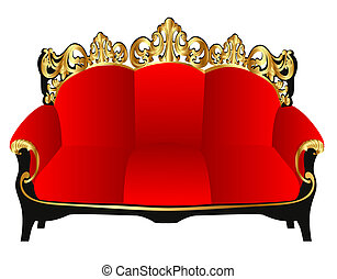 gold(en), sofa, retro, rouges, modèle