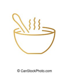 golden soup bowl with spoon- vector illustration