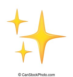 golden spark icon on white isolated background