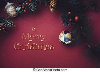 Golden sparkle Merry Christmas text with star with ball and fir branches for wreath with cherry and pine cone on dark red background. greeting card for winter holiday festive celebration concept.