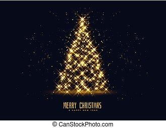 golden sparkles christmas tree background