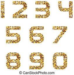 golden sparkles font numbers