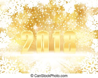 Golden sparkling 2018 New Years, Christmas background with snowflakes