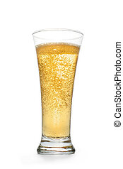 Golden sparkling drink into high glass