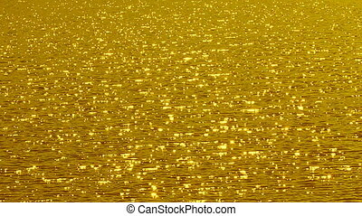 Golden sparkling lake. Slo-mo.