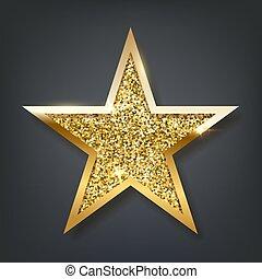 Golden sparkling star isolated on dark background. Vector design element.