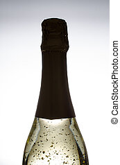 Golden sparkling wine