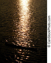 The Indian sunset casts a golden spell on the water