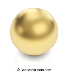 Golden sphere on white - Golden sphere 3d render with...