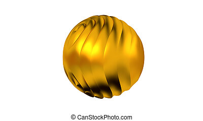Golden Sphere with many Vertical Waves