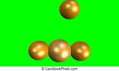 Golden spheres falling and building a pyramid, group...
