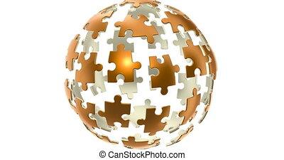 Golden spherical puzzle animation concept, 3D rendering...