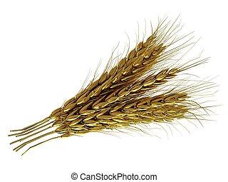 Golden spikelet. 3d render