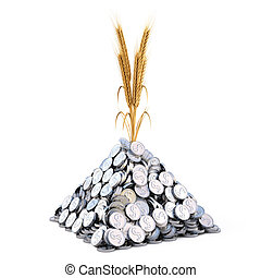 golden spikes grow from a pile of silver coins. isolated on white.