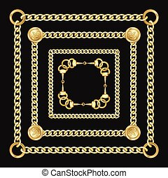 Golden Square Chains Pattern on Black Background.