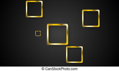 Golden squares on black background video animation