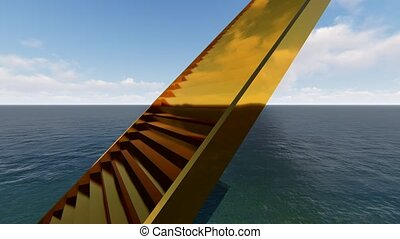 Golden stairs in ocean realistic looped animation