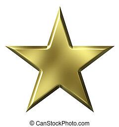 Golden Star - 3d golden star isolated in white