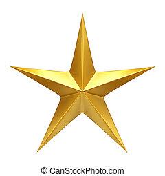 Golden Star  - 3d render