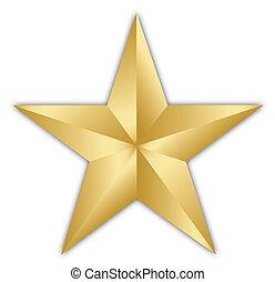 Golden star - A bright golden star isolated over a white...