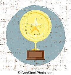 Golden star achievement award with grunge texture in retro...