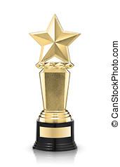 star award - Golden star award isolated on the white...