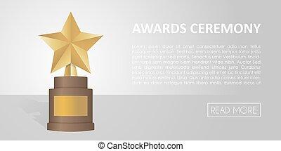 Golden star award on brown base. Gold Trophy vector banner illustration