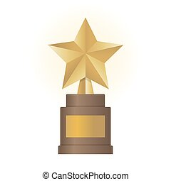 Golden star award on brown base. Gold Trophy vector illustration