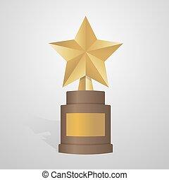 Golden star award on brown base. Gold Trophy vector illustration
