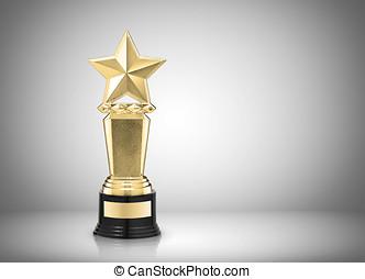 star award - Golden star award on gray background