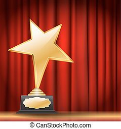 golden star award on red curtain background