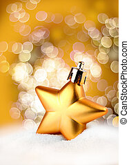 Golden star bokeh light effect