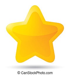 Golden star icon on white background. Five-pointed shiny star for rating. Rounded corners.