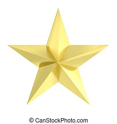 Golden star icon, isolated on white background