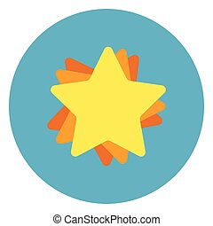 Golden Star Icon On Blue Round Background