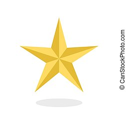Golden star icon with drop shadow in flat style isolated on white