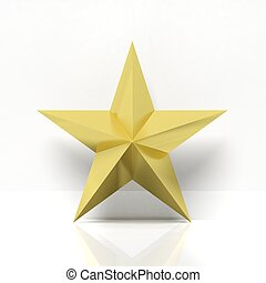 Golden star icon with reflection, isolated on white background
