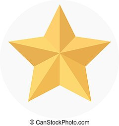 Golden star isolated on white background