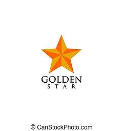 Golden star logo icon vector template
