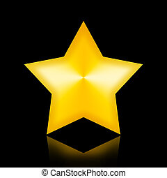 Golden Star - Majestic golden star in the night isolated on...