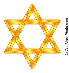 Golden Star of David symbol illustration
