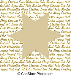 Golden star on christmas wishes