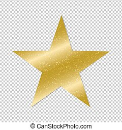 Golden Star On Transparent Background