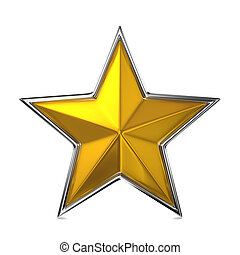 Golden Star, Reward Cocept. - Golden Stars Isolated on...