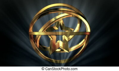 Golden Star Shape in Rotor Shine - background animation for...