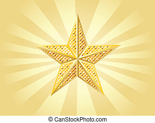 Shiny golden star on yellow background with rays.