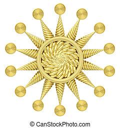 Golden star symbol isolated on white background