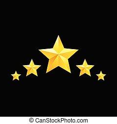 Golden star symbols. Vector yellow elements for design